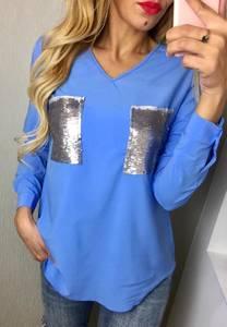 Блуза с длинным рукавом синяя Ф5910