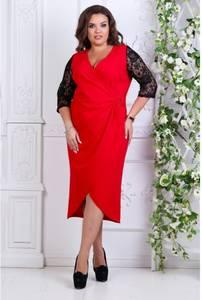 Платье короткое нарядное красное Ф9910
