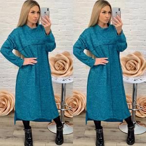 Платье длинное с длинным рукавом однотонное Ф5580