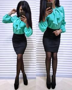 Блуза с длинным рукавом голубая Х6336