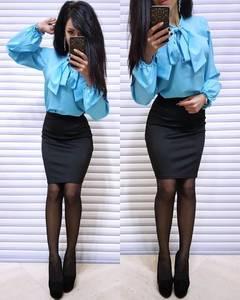 Блуза с длинным рукавом голубая Х6335