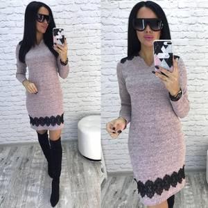 Платье короткое однотонное облегающее Ф5922