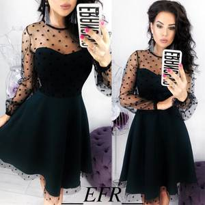 Платье короткое коктейльное черное Х6324
