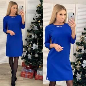 Платье короткое с рукавом 3/4 синее Х6339