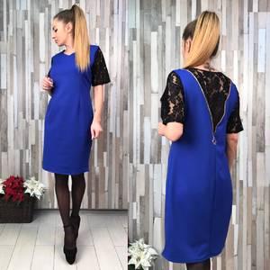 Платье короткое нарядное синее Х1364