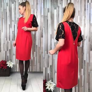 Платье короткое нарядное красное Х1363