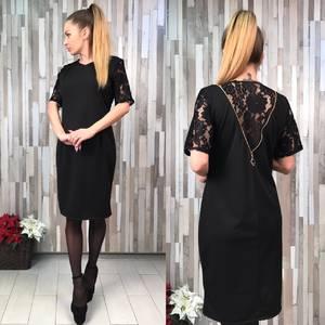 Платье короткое нарядное черное Х1366