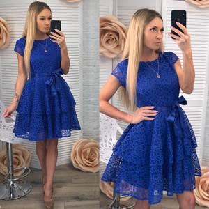 Платье короткое коктейльное синее Ф3499