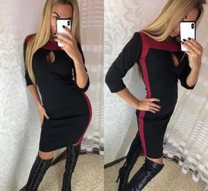 Платье короткое с рукавом 3/4 облегающее Ф3673