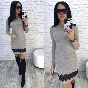 Платье короткое однотонное облегающее Ф5923