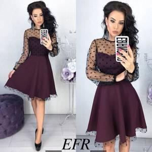 Платье короткое коктейльное с длинным рукавом Х6325