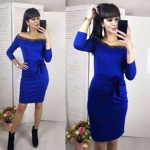 Платье короткое с рукавом 3/4 синее Х6348