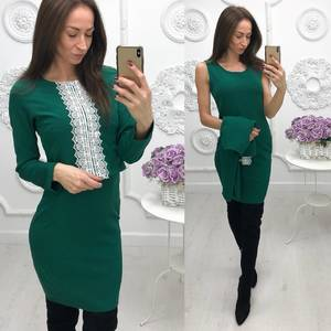 Платье Двойка короткое однотонное современное Ф5872