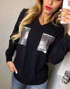 Блуза с длинным рукавом черная Ф5909
