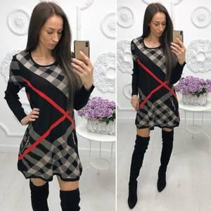 Платье короткое с длинным рукавом с принтом Ф4171