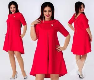 Платье короткое красное однотонное Ф5006