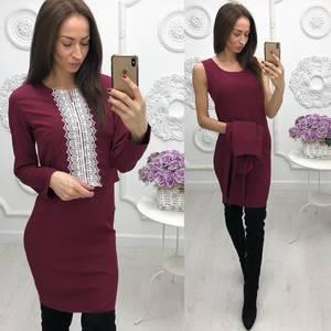 Платье Двойка короткое однотонное современное Ф5875
