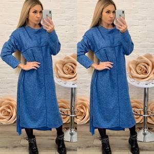 Платье длинное с длинным рукавом однотонное Ф5575