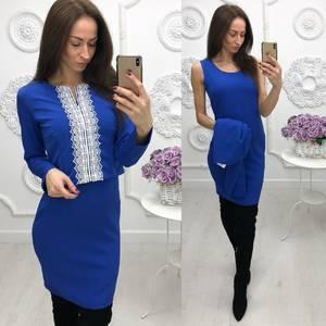 Платье Двойка короткое однотонное синее Ф5874