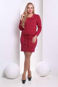Платье короткое с длинным рукавом красное Х1400
