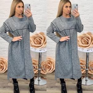 Платье длинное с длинным рукавом однотонное Ф5576