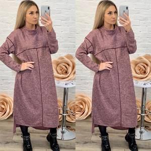 Платье длинное с длинным рукавом однотонное Ф5578