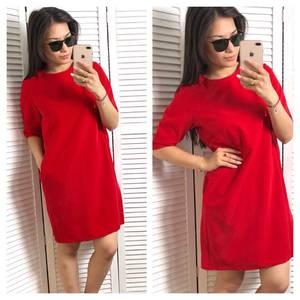 Платье короткое однотонное красное Т1523