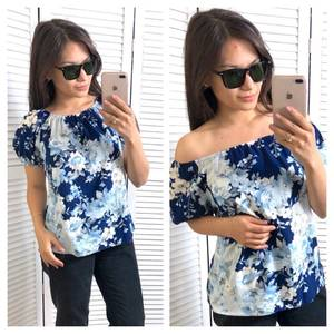 Блуза с цветочным принтом с коротким рукавом Т4347