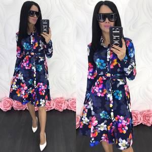 Платье короткое с длинным рукавом Ц4672