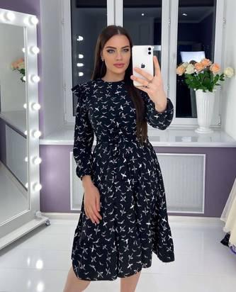 Платье короткое с длинным рукавом Я3304