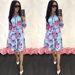 Платье короткое с длинным рукавом Ц4673