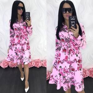Платье короткое с длинным рукавом Ц4674