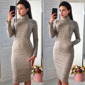 Платье короткое облегающее теплое Ф3602
