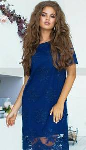 Платье короткое нарядное синее Х5897
