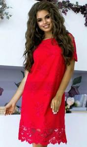 Платье короткое нарядное красное Х5896
