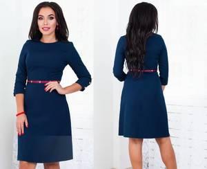 Платье короткое с рукавом 3/4 однотонное Ф5292