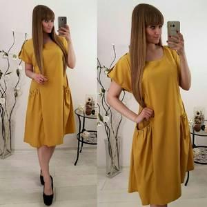 Платье короткое с коротким рукавом однотонное Ф1466