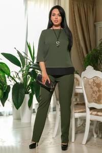 Костюм брючный модный зеленый Ф7240