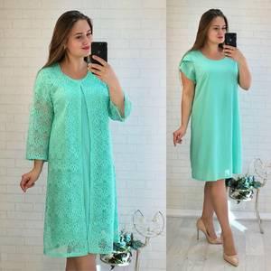 Платье Двойка короткое нарядное однотонное Ф5529
