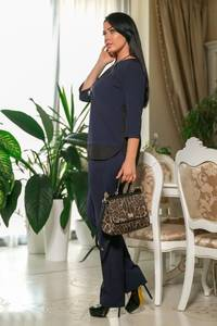 Костюм брючный модный синий Ф7239
