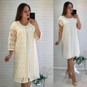 Платье Двойка короткое нарядное однотонное Ф5530
