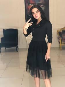 Платье короткое с рукавом 3/4 черное Ф5109