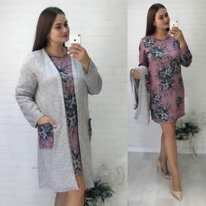 Платье Двойка короткое нарядное с принтом Ф5534