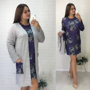 Платье Двойка короткое нарядное с принтом Ф5535