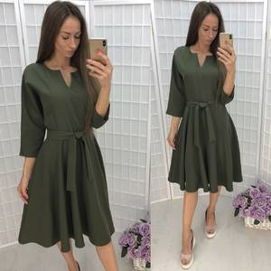 Платье короткое с рукавом 3/4 однотонное Ф6338