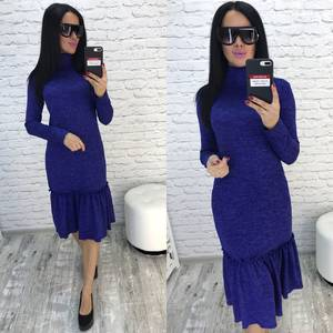 Платье короткое с длинным рукавом синее Ф0356