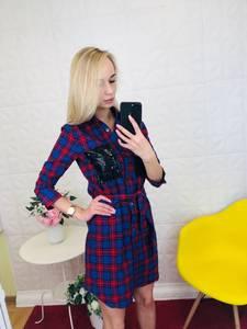 Платье короткое с рукавом 3/4 Ц9784