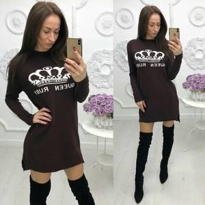 Платье короткое с длинным рукавом с принтом Ф5468