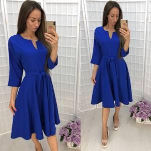 Платье короткое с рукавом 3/4 синее Ф6337