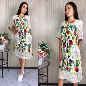 Платье короткое с коротким рукавом с принтом Ф1469